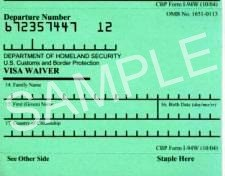 Form I-94 or I-94W Arrival Departure Record
